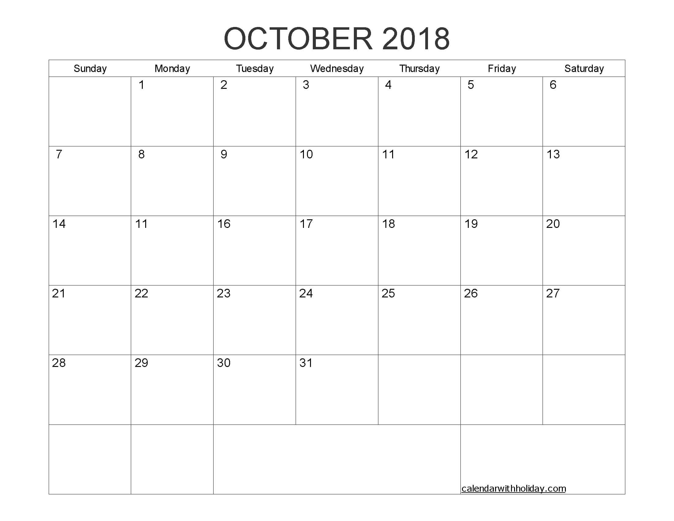 Blank Calendar October 2018 Printable 1 Month Calendar Regarding Blank One Month Calendar Template