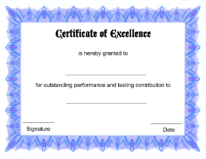 Blank Certificate Templates Of Excellence | Kiddo Shelter inside Printable Certificate Of Recognition Templates Free