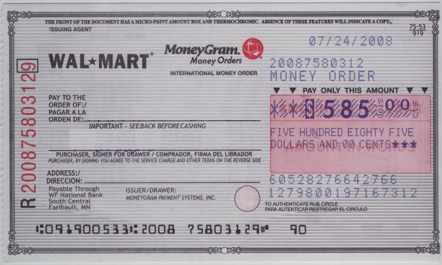 Blank Check Sample | How To Fill Out A Moneygram Money Order With Regard To Blank Money Order Template