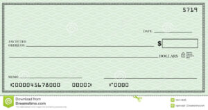 Blank Check With Open Space For Your Text Stock Illustration throughout Blank Cheque Template Download Free