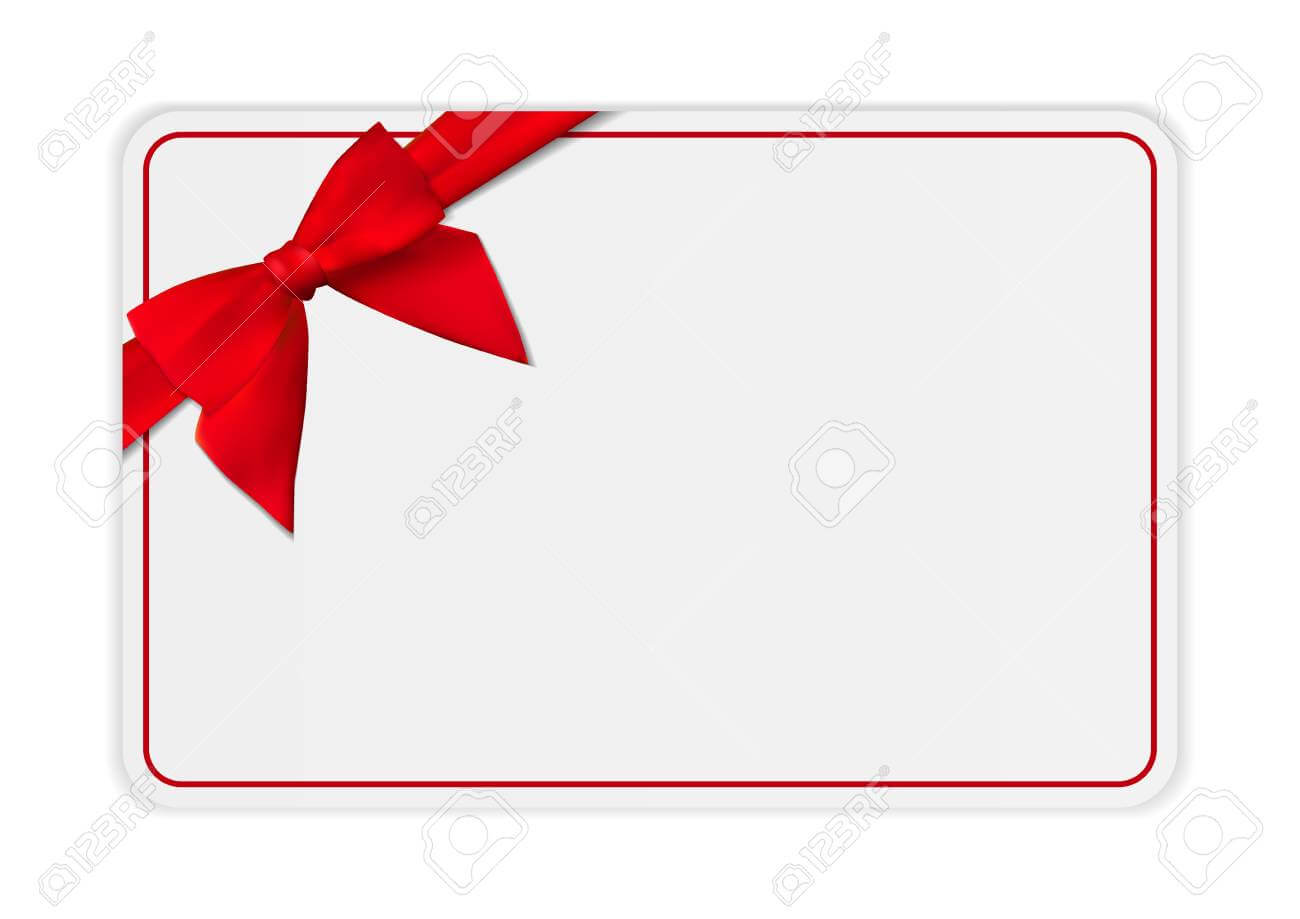 Blank Gift Card Template With Bow And Ribbon. Vector Illustration.. For Present Card Template