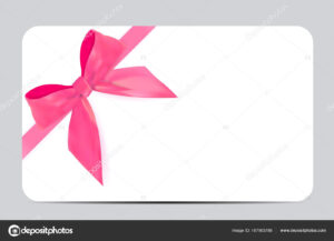 Blank Gift Card Template With Pink Bow And Ribbon. Vector throughout Present Card Template