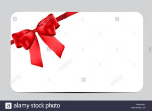 Blank Gift Card Template With Red Bow And Ribbon. Vector for Present Card Template