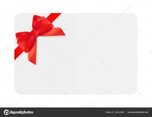 Blank Gift Card Template With Red Bow And Ribbon. Vector pertaining to Present Card Template