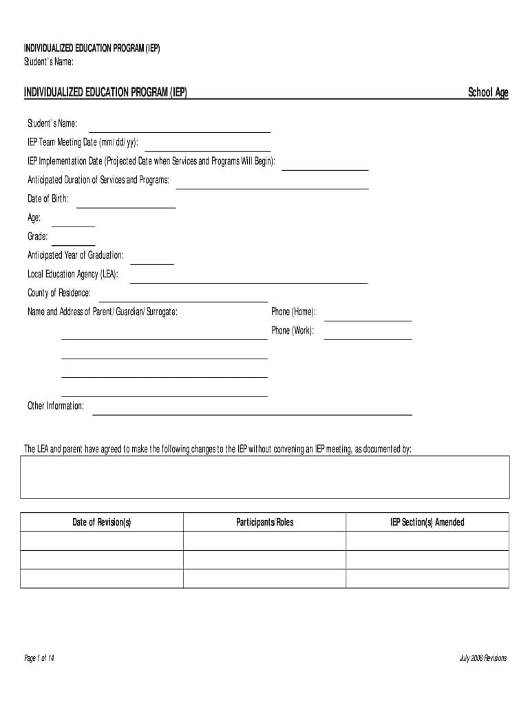 Blank Iep Template - Fill Online, Printable, Fillable, Blank In Blank Iep Template