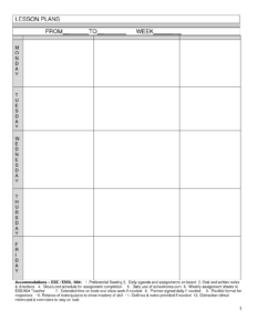 Blank Lesson Plans For Teachers | Free Printable Blank in Blank Preschool Lesson Plan Template