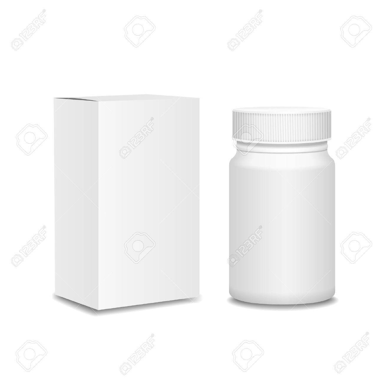 Blank Medicine Bottle And Cardboard Packaging, Vitamins, Examples.. Regarding Blank Packaging Templates