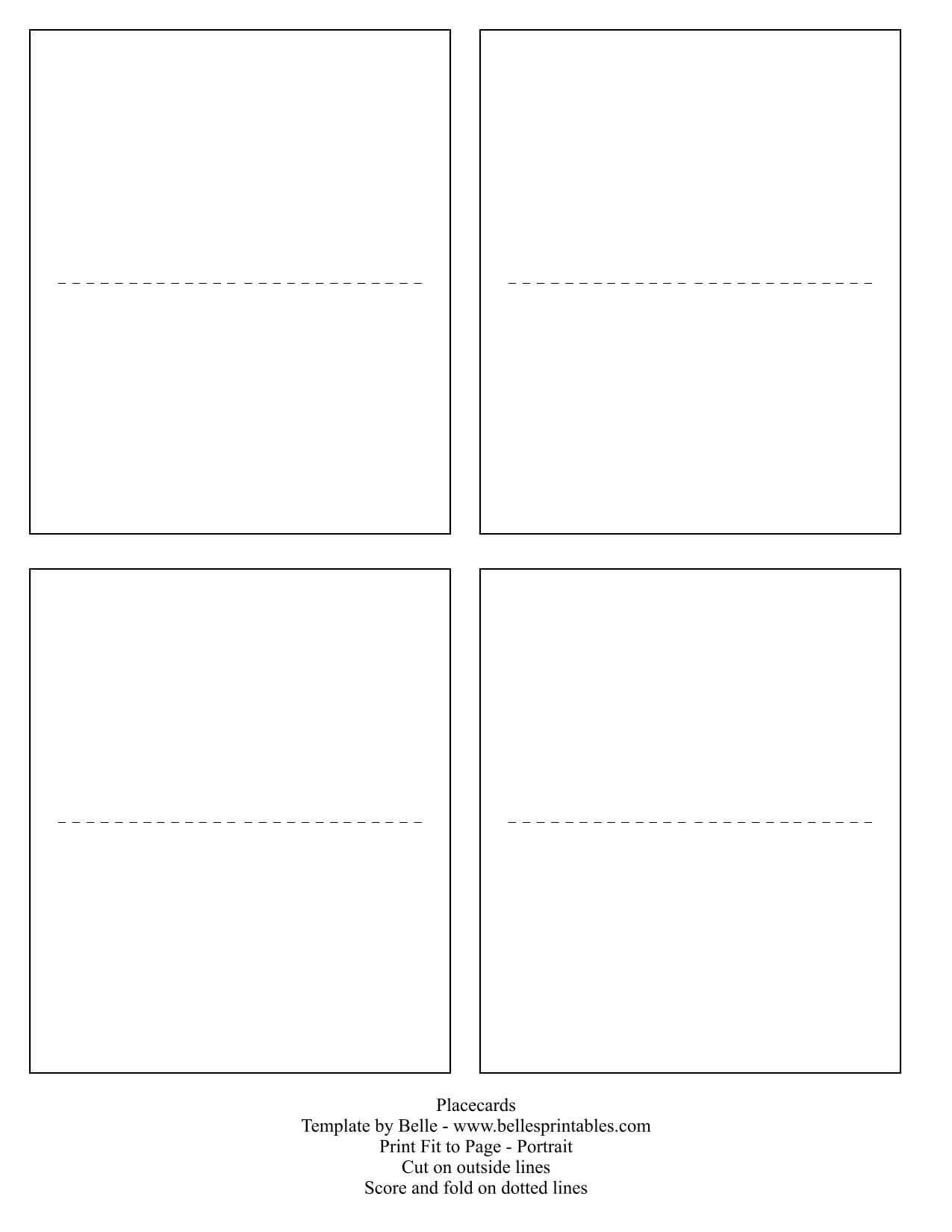 Blank Place Card Template For Microsoft Word For Ms Word Place Card Template