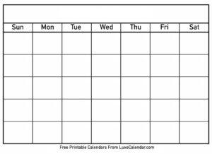 Blank Printable Calendar – Luxe Calendar inside Blank Calander Template