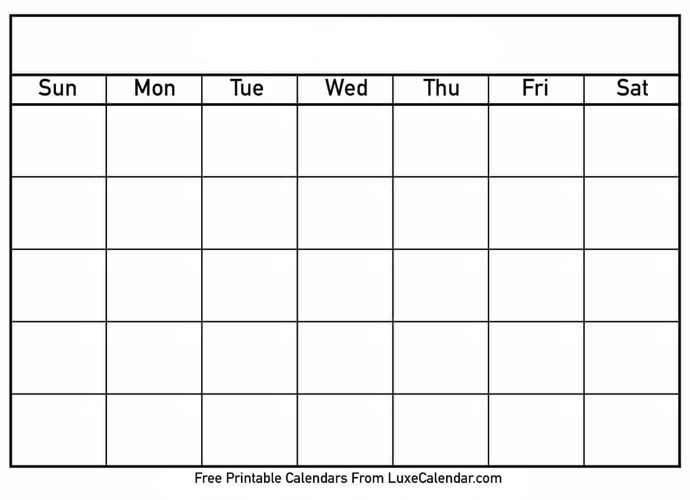 Blank Printable Calendar - Luxe Calendar Inside Blank Calander Template