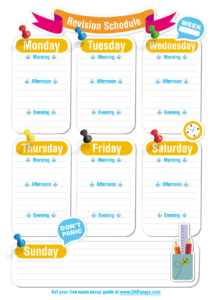 Blank Revision Timetable Template | Classroom | Revision in Blank Revision Timetable Template