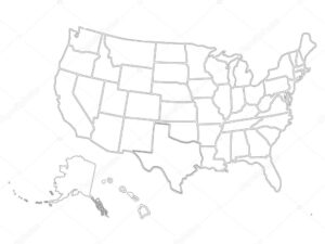 Blank Similar Usa Map Isolated On White Background. United inside Blank Template Of The United States