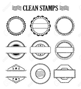 Blank Stamp Set, Ink Rubber Seal Texture Effect. Postage And.. for Blank Seal Template