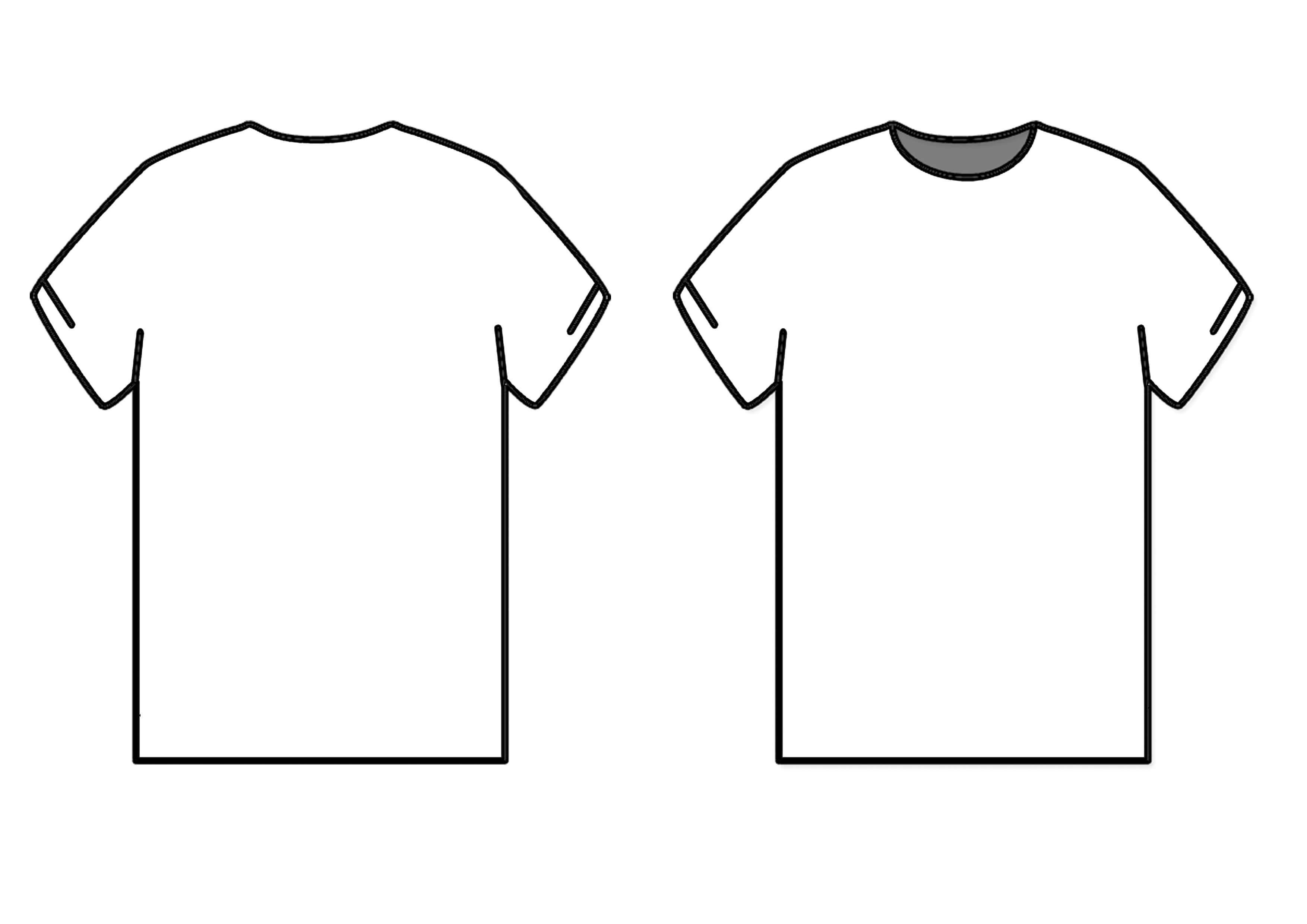 Blank T Shirt Outline | Free Download Best Blank T Shirt With Blank Tshirt Template Pdf