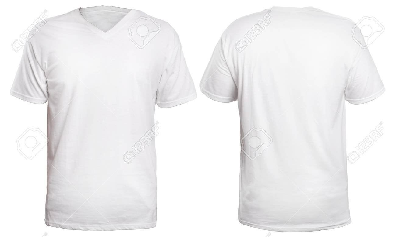Blank V Neck Shirt Mock Up Template, Front And Back View, Isolated.. With Blank V Neck T Shirt Template