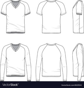 Blank V-Neck T-Shirt And Tee Vector Image inside Blank V Neck T Shirt Template