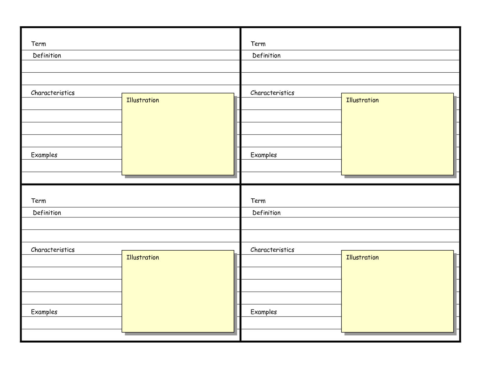 Blank Vocabulary Card Template | Frayer Models | Vocabulary Inside Free Printable Flash Cards Template