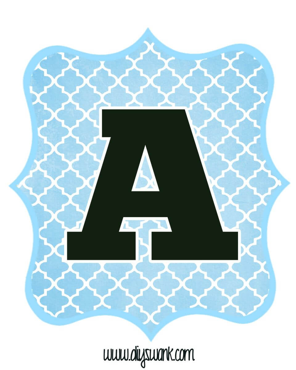 Blue And Black Printable Letters For Banners   Free Throughout Christening Banner Template Free
