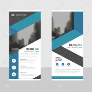Blue Business Roll Up Banner Flat Design Template ,abstract Geometric.. within Pop Up Banner Design Template