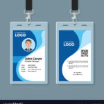 Blue Curve Wave Id Card Design Template Inside Template For Id Card Free Download