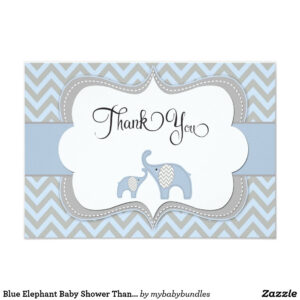 Blue Elephant Baby Shower Thank You Card | Zazzle | Baby Intended For Template For Baby Shower Thank You Cards