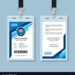 Blue Graphic Employee Id Card Template Regarding Work Id Card Template