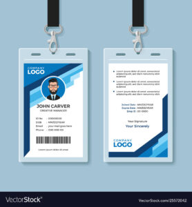 Blue Graphic Employee Id Card Template regarding Work Id Card Template