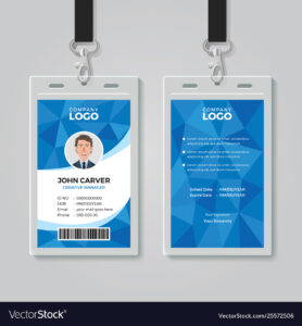 Blue Polygon Office Id Card Template pertaining to Id Card Template Ai