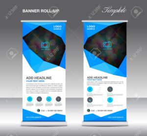 Blue Roll Up Banner Stand Template, Stand Design,banner Template,layout.. for Banner Stand Design Templates