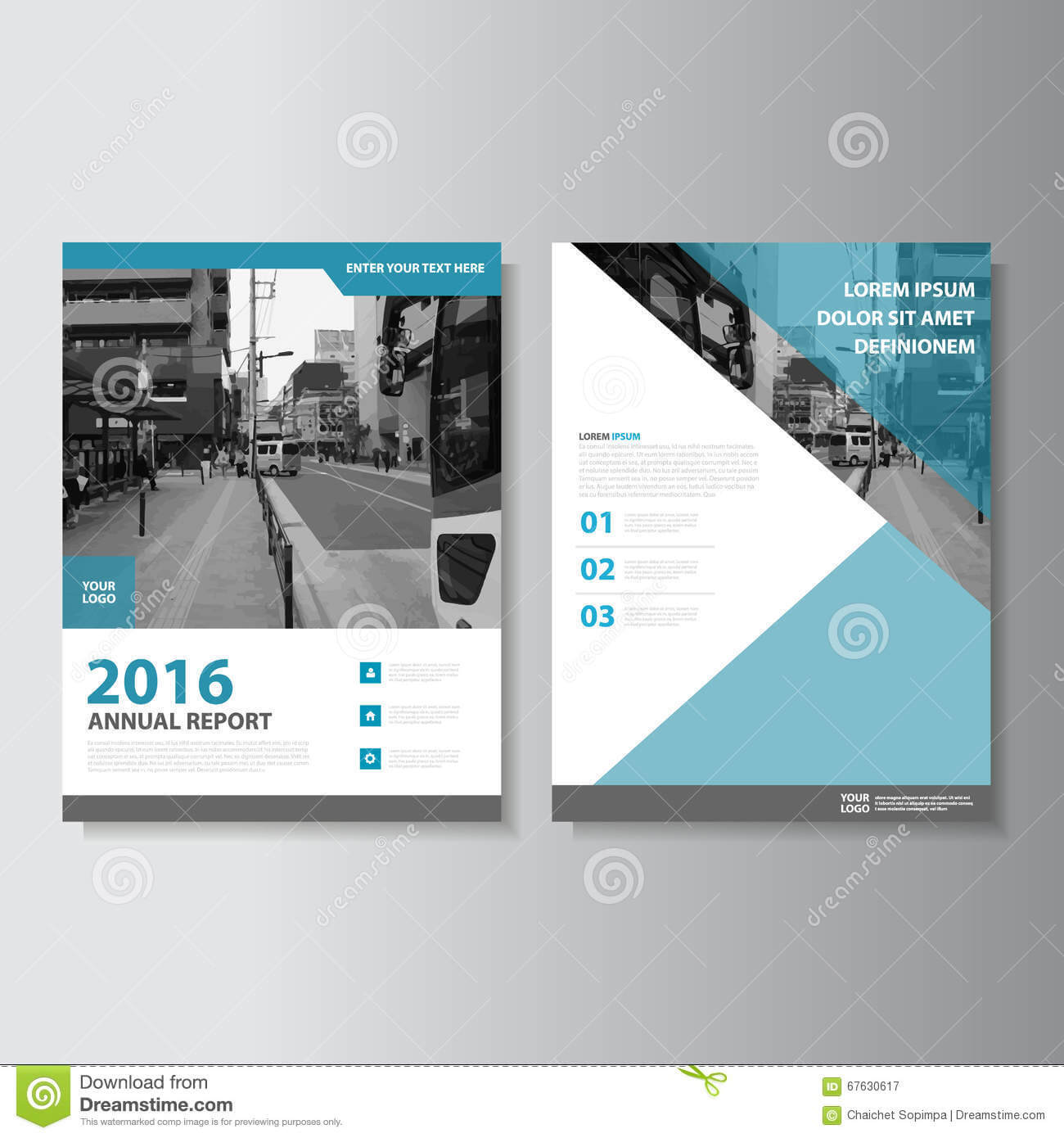 Blue Vector Magazine Annual Report Leaflet Brochure Flyer Regarding Annual Report Template Word Free Download