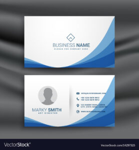 Blue Wave Simple Business Card Design Template throughout Visiting Card Illustrator Templates Download