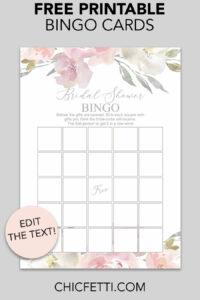 Blush Floral Printable Bridal Shower Bingo | Free Wedding inside Blank Bridal Shower Bingo Template