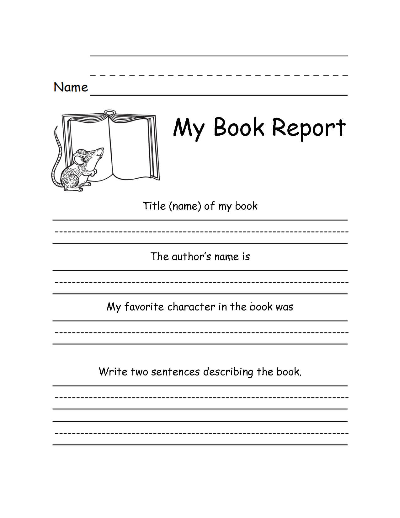 Book Report Forms For 2Nd Grade - Google Search | Homeschool for 1St Grade Book Report Template