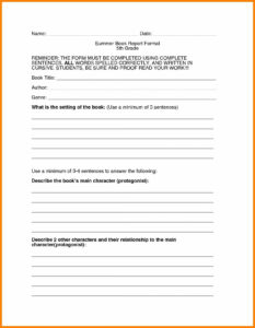 Book Report Template 4Th Grade Biography Free Printable with regard to Book Report Template 4Th Grade
