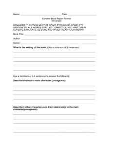 Book Report Template 5Th Grade – Xyztemplates intended for Book Report Template 5Th Grade