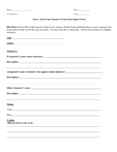 Book Report Template | Part I Sixth Grade Summer Fiction throughout Book Report Template Grade 1