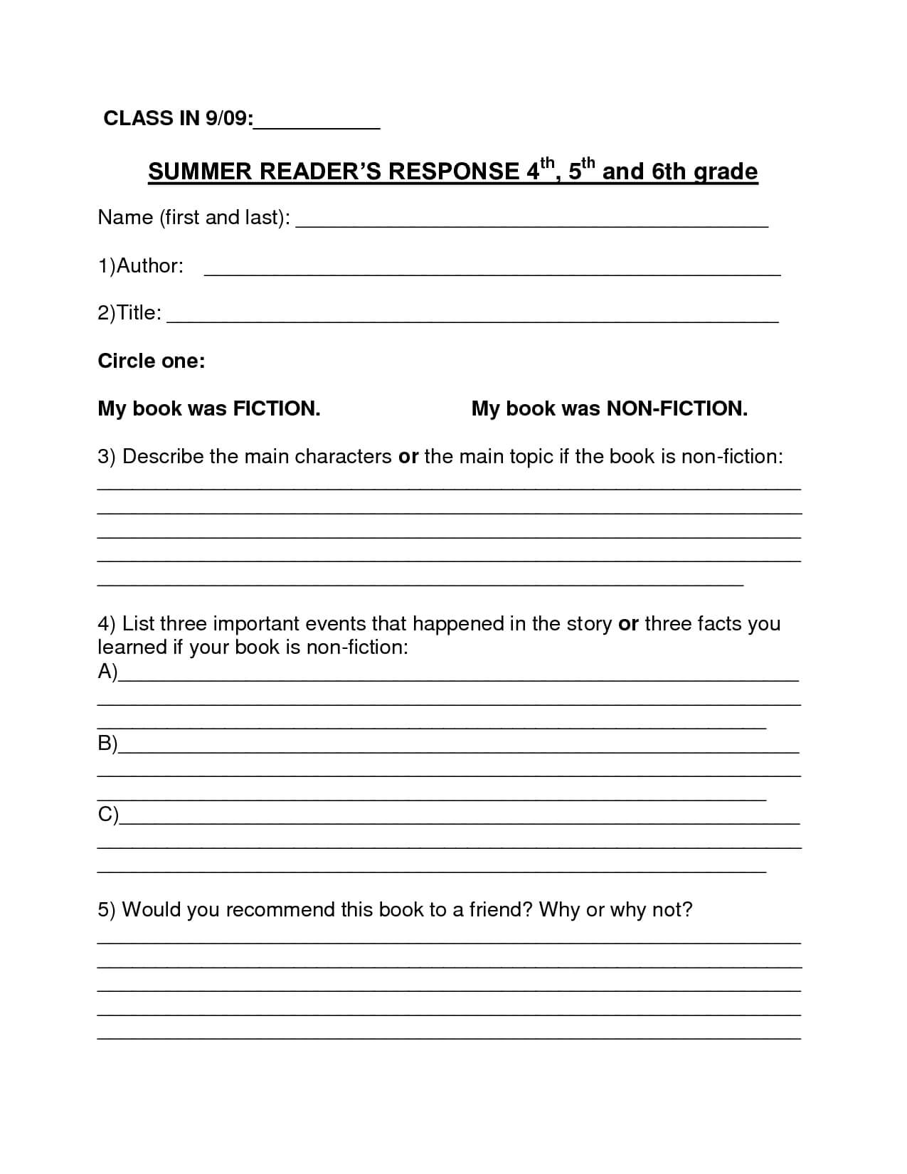 Book Report Template | Summer Book Report 4Th  6Th Grade Pertaining To 6Th Grade Book Report Template