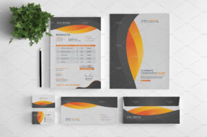 Branding Stationery Set. A Collection Of Branding/identity throughout Business Card Letterhead Envelope Template