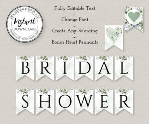 Bridal Shower Banner Printable, Bridal Shower Decorations, Fully Editable  Pennant Banner Template, Instant Download, W103 In Bride To Be Banner Template