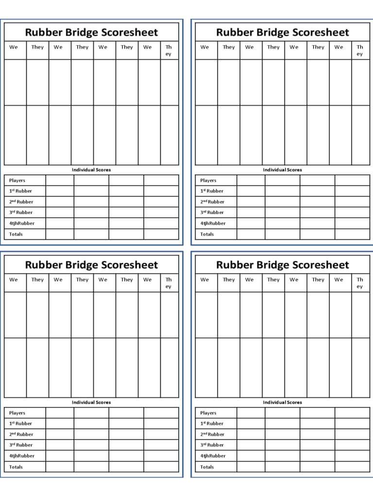 Bridge Score Sheet - 6 Free Templates In Pdf, Word, Excel Within Bridge Score Card Template