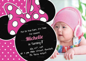 Bright Minnie Mouse Birthday Invitation Card Template intended for Minnie Mouse Card Templates