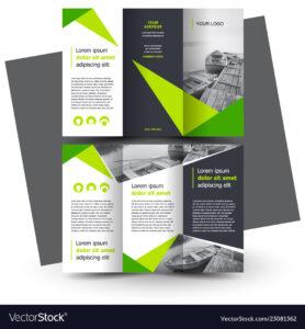 Brochure Design Template Creative Tri-Fold Green for E Brochure Design Templates