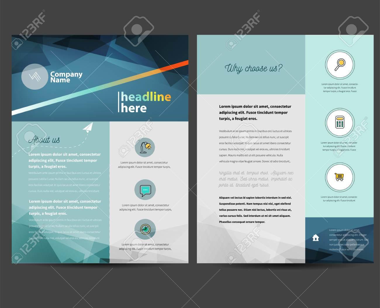 Brochure Or Flyer Design Template In Letter Size Inside Letter Size Brochure Template