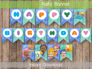 Bubble Guppies Birthday Banner Bubble Guppies Party Decor Bubble Guppies  Digital Banner Bubble Guppies Birthday Banner Instant Download With Regard To Bubble Guppies Birthday Banner Template