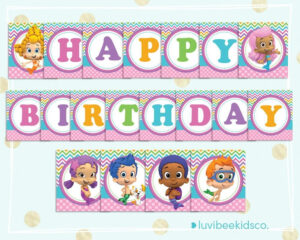 Bubble Guppies Happy Birthday Banner – Printable Pdf Banner Within Bubble Guppies Birthday Banner Template