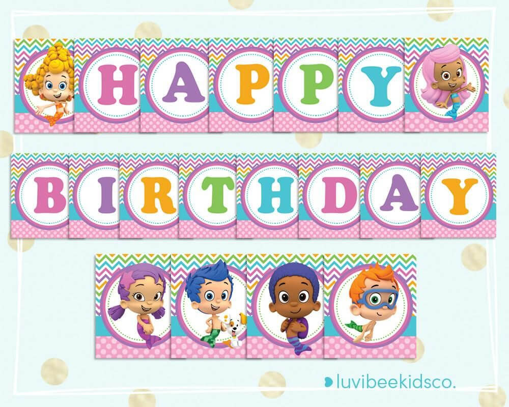 Bubble Guppies Happy Birthday Banner - Printable Pdf Banner Within Bubble Guppies Birthday Banner Template