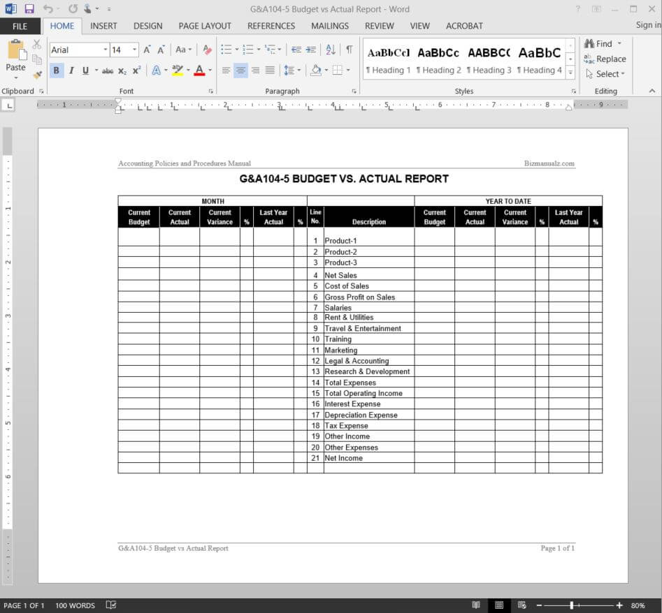Budget Vs Actual Report Template   G&a104 5 Inside Daily Expense Report Template