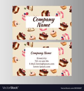 Business Card Design Template With Tasty Cakes throughout Cake Business Cards Templates Free