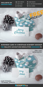 Business Card In Christmas Scenery – Free Psd Mockup | Free for Free Christmas Card Templates For Photoshop