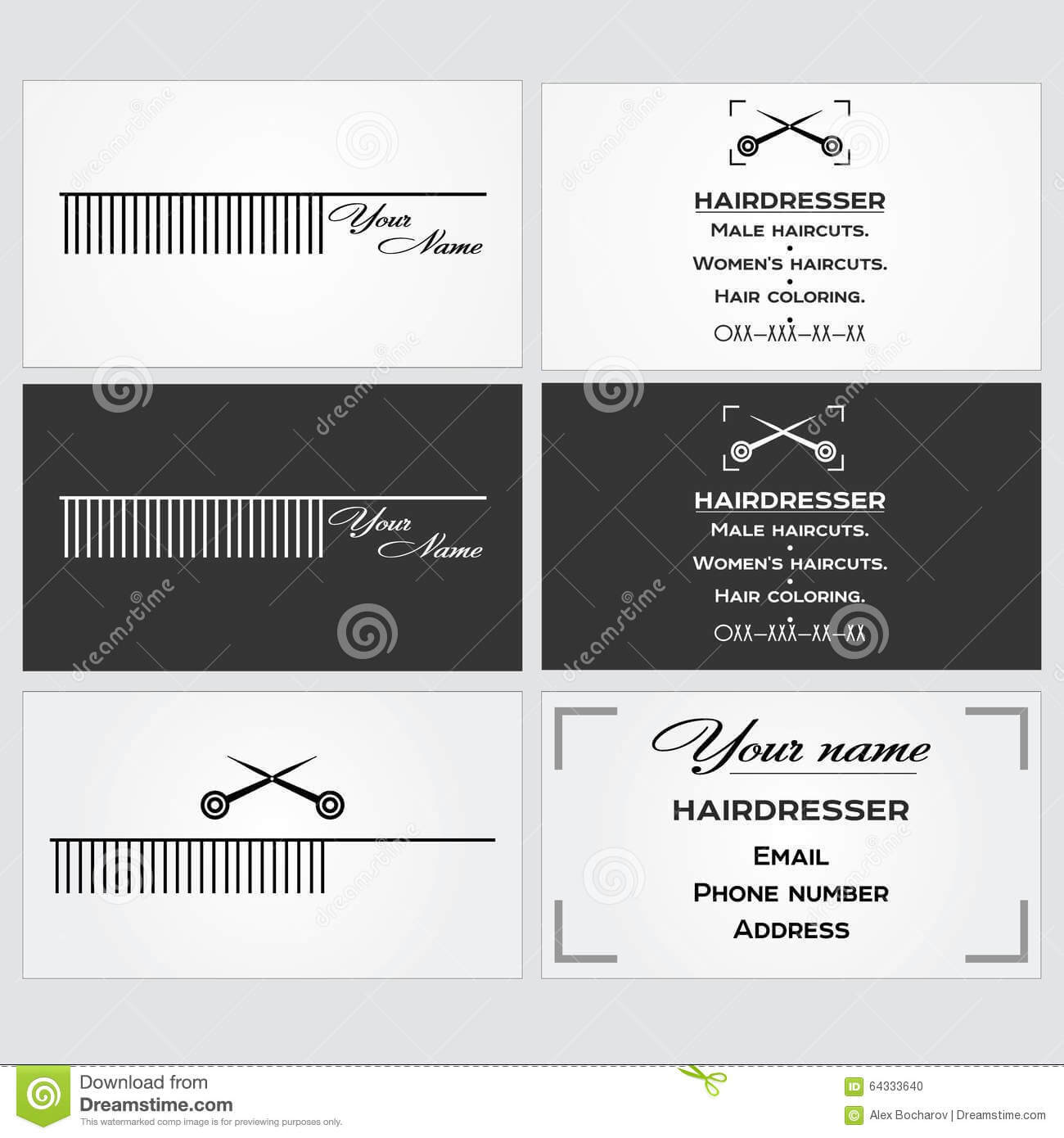 Business Card Template For A Hairdresser. Stock Vector Within Hairdresser Business Card Templates Free